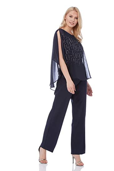 Roman Originals Women Diamante Overlay Jumpsuit Ladies Chiffon