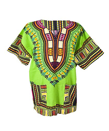 Lofbaz Traditional African Print Unisex Dashiki Size XL Light Green -