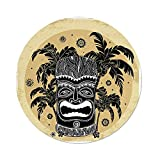 Polyester Round Tablecloth,Tiki Bar Decor,Tiki Mask Figure Palm Trees Ornate Flowers Sunny Summer Party Print Decorative,Brown White Yellow,Dining Room Kitchen Picnic Table Cloth Cover,for Outdoor In