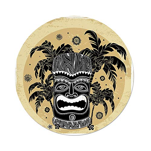 Polyester Round Tablecloth,Tiki Bar Decor,Tiki Mask Figure Palm Trees Ornate Flowers Sunny Summer Party Print Decorative,Brown White Yellow,Dining Room Kitchen Picnic Table Cloth Cover,for Outdoor In by iPrint
