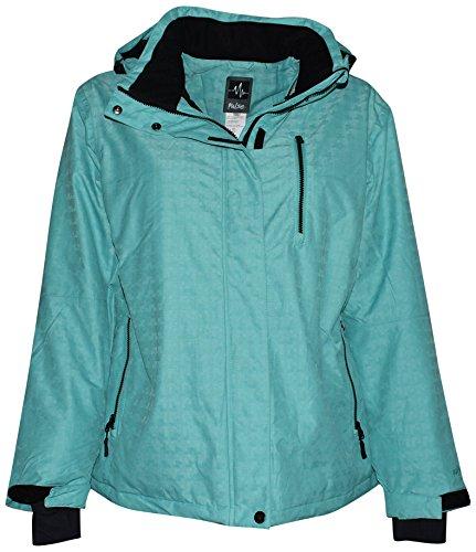 Pulse Women's Plus Size Extended Insulated Bevel Snow Ski Jacket (1X (16/18), Aqua)