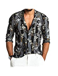 iYYVV Mens Baggy Hawaii Beach Print Short Sleeve Button Retro Lapel T Shirts Tops