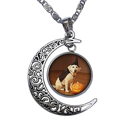 GiftJewelryShop Dog Halloween Costume Pumpkin Crescent Moon Galactic Universe Glass Cabochon Pendant Necklace