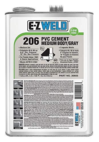(Ez Weld Pipe Cement, Gray, 128 oz., for PVC Pipes and Fittings - 20605)