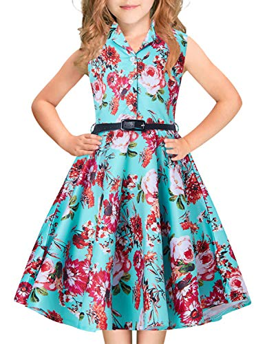 Teen Girl's Pageant Dress Kawaii Rose Red Pink Peach Blossom Floral Print 60s 70s 80 Teal Blue Collar Midi Long Swing Aline Lace Classy Frocks for Big Young Children Wedding Prom Ball Gowns Size 10-11 ()