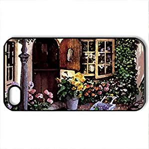 THE FLOWER SHOP - Case Cover for iPhone 4 and 4s (Houses Series, Watercolor style, Black)