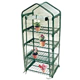 Worth MINI GREENHOUSE - NEW METAL GREEN VERSION with 3 & 4 tier collapsible shelves - Best Greenhouse with ROLL UP ZIPPER DOOR