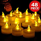 Flameless LED Tea Light Candles, Costech Realistic Flickering and Votive Unscented Electric Fake Candles, Battery Powered for Holiday, Wedding, Decorations and More (Pack of 48)