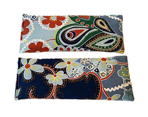 Flax Eye Pillow (2 Hot/Cold Flaxseed Eye Pillows. 2 Microwavable Eye Pillows for Cold or Hot Therapy. Relieve Puffy or Dry Eyes. Eye Pads For Relaxing Warmth, Cooling Relief. Eye Mask for Sleep, Yoga. (Floral))