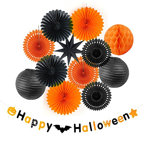Halloween Decoration Kit Party Banner Paper Fans Lanterns Honeycomb Balls for Halloween Party Birthday Event Decorations Black Orange SUNBEAUTY 13Pieces (Tissue Paper Crafts For Halloween)