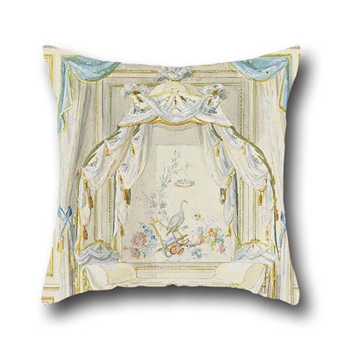 20 X 20 Inch / 50 By 50 Cm Oil Painting Pierre Ranson - Wall Elevation Of A Bedroom Alcove Pillowcover ,two Sides Ornament And Gift To Wedding,dance Room,seat,couples,monther,chair
