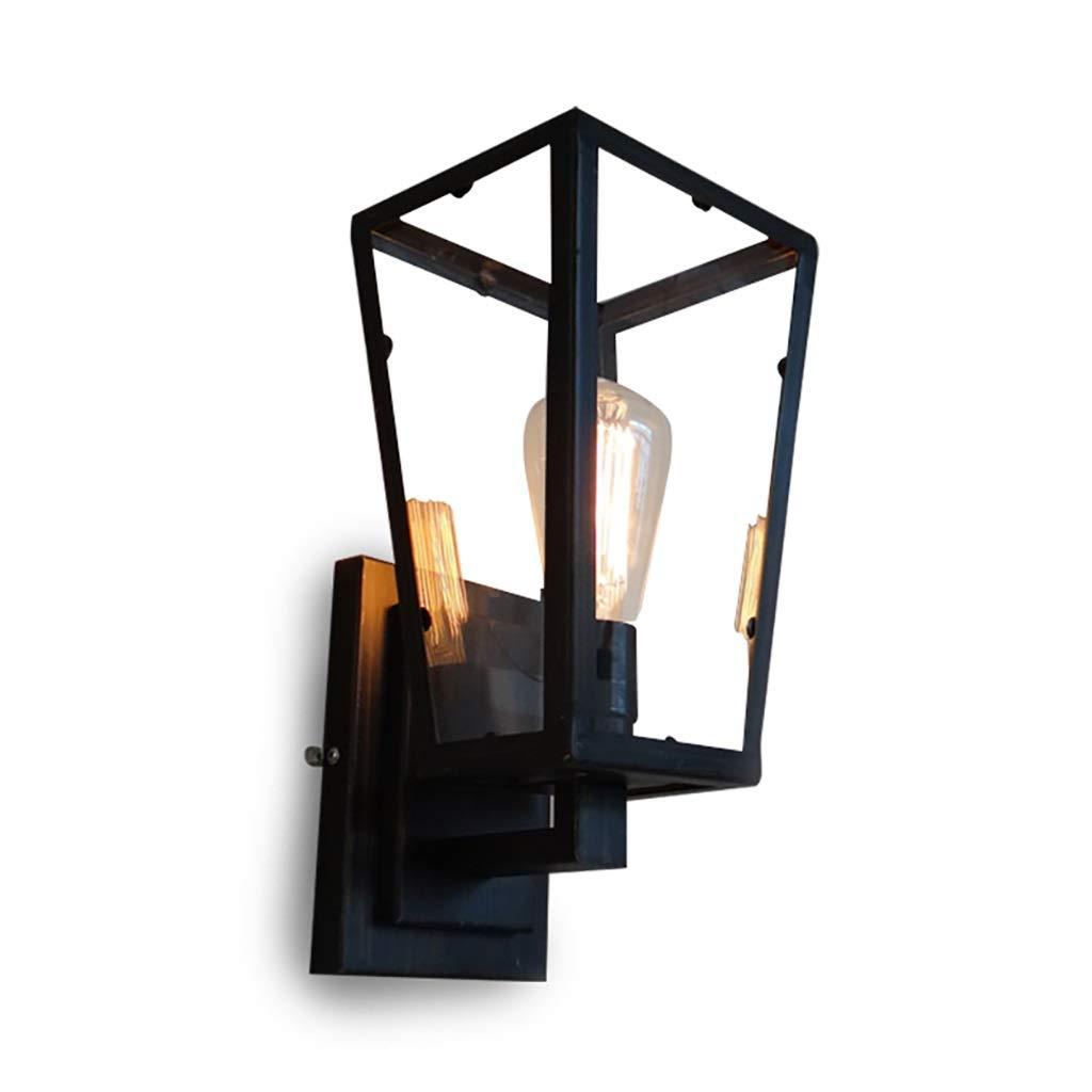 ウォールランプアイアンアートウォールライト工業用風燭台ポータブル照明スポットライト屋外通路レストラン寝室のコーヒーショップ黒 B07S6QZN2B