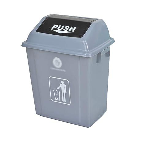 WQEYMX Bote de Basura al Aire Libre Caja de Columpios casa jardín Cocina Basura Reciclaje plástico Basura Cubo de Basura con Ruedas (Color : Gray, Size : 60L): Amazon.es: Hogar