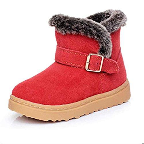 Koly Moda invierno bebé niño PU cuero algodón caliente Nevado Martin botas zapatos (29, Rojo) Rojo