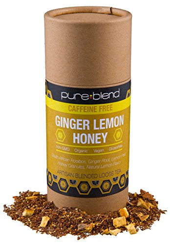 Lemon Organic Honey - Pureblend Herbal Tea - Ginger Tea with Honey & Lemon - Loose Leaf Tea - Hand Blended, Organic Tea with Fair Trade Ingredients - Herbal Tea & African Rooibos Tea Blend - 2 Ounces