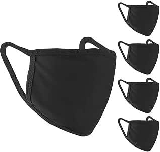 5 Pcs Cotton Face Mask, Protective Reusable Washable Cotton Fabric Masks for Adult - Black