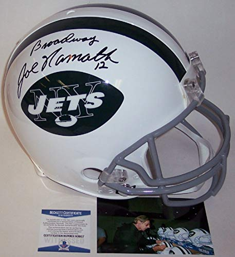 Joe Namath Autographed Hand Signed New York Jets Throwback Authentic Full Size Helmet - BAS Beckett