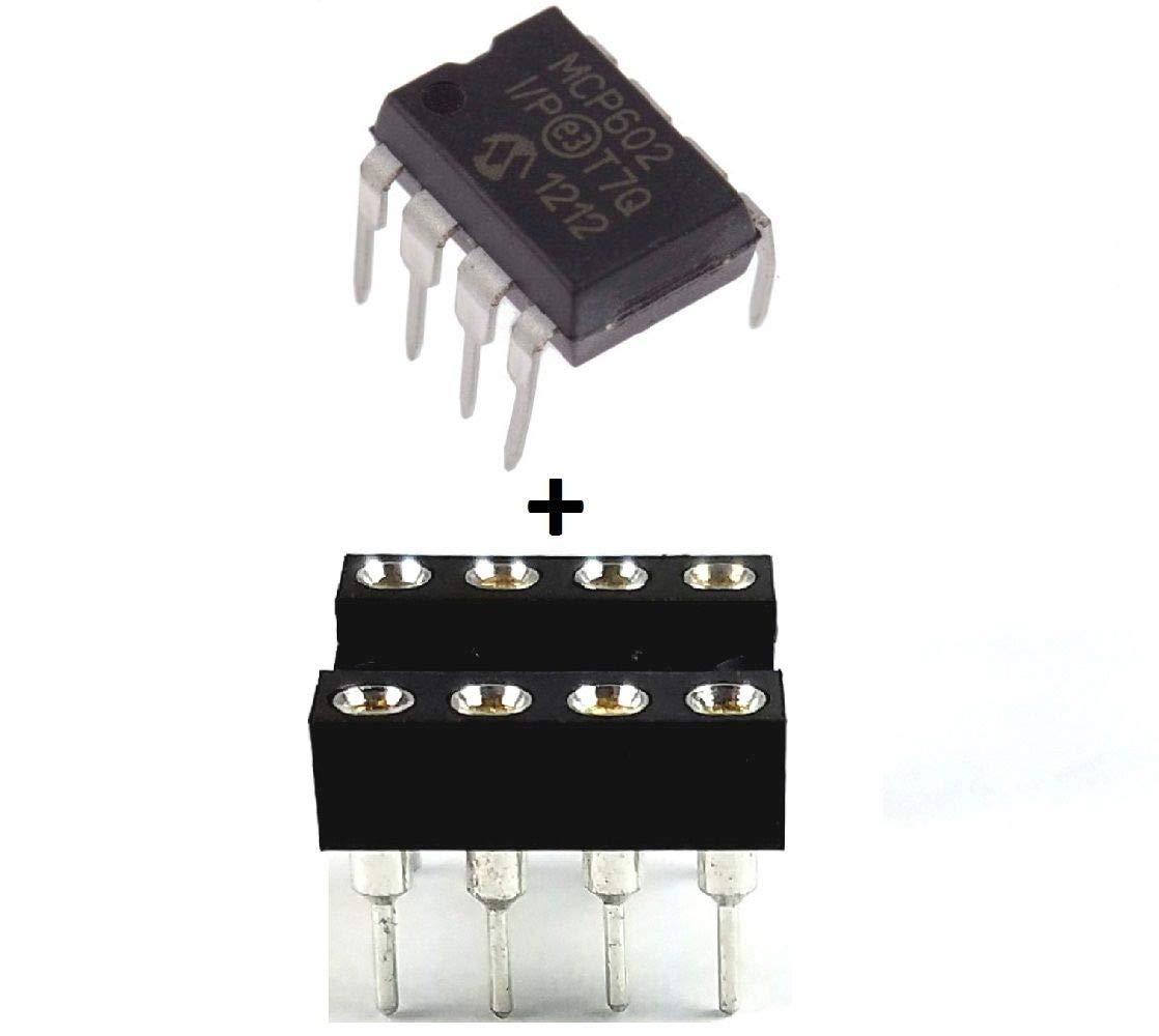 MICROCHIP MCP602-I/P MCP602 + Sockets - Single Supply Dual CMOS Op Amp IC (Pack of 5)