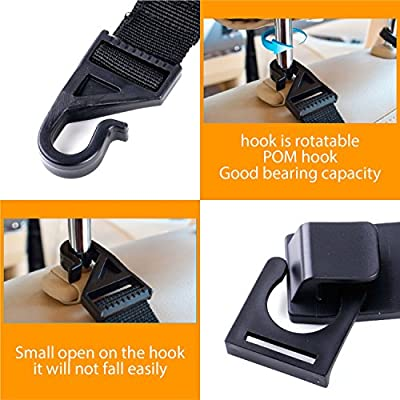 Car Back Seat Headrest Hanger Holder Hooks for Purse Grocery Bag Hat Cloth Coat Universal Vehicle Trunk Storage Organizer Heavy Duty Purse Hook Drop Stop Gadget Best Car Accessories for Women AllTools A-201