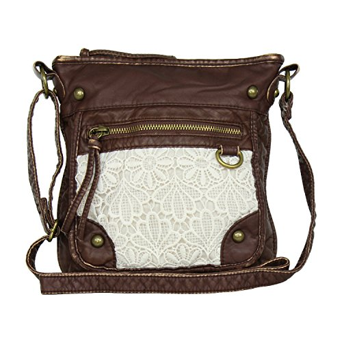 Large Lace Faux Leather Crossbody Purse