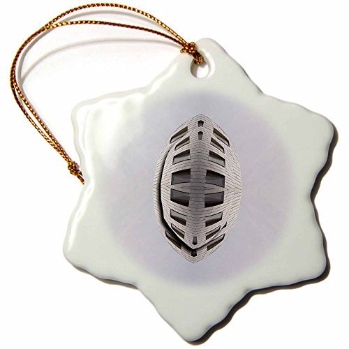 Christmas Ornament Jos Fauxtographee Abstract - The Brain Building in Las Vegas, Nevada Made to look Like a Flying UFO in Gray - Snowflake Porcelain - Fleur Crystal Lis Pendant De