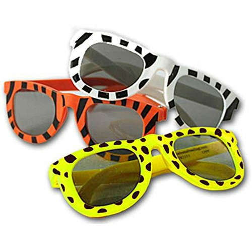 (24 Zoo Safari Jungle Animal Theme Sunglasses Shades Zebra Giraffe Tiger Party Favor)
