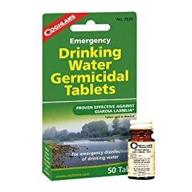 Coghlan's Drinking Water Tablets, 50 Tablets 1 Provides emergency disinfection of drinking water Makes most water bacteriologically suitable for drinking For short term or limited emergency use only, not for use on a continual basis