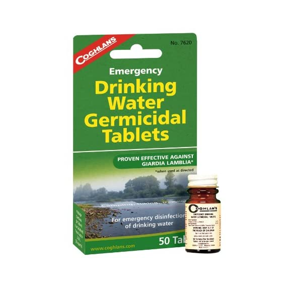 Coghlan's Drinking Water Tablets 1 <p>Emergency Drinking Water Germicidal Tablets are intended for emergency disinfection of drinking water. When used as directed, they make most water bacteriologically suitable for drinking. Not to be used on a continuous basis. For short term or limited emergency use only. Treats up to 25 quarts. Provides emergency disinfection of drinking water Makes most water bacteriologically suitable for drinking For short term or limited emergency use only, not for use on a continual basis Iodine-based compound gives no unpleasant taste Treats up to 25 quarts</p>