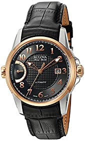 Bulova Men's 'Calibrator' Swiss Automatic Stainless Steel and Black Leather Casual Watch (Model: 65B154)