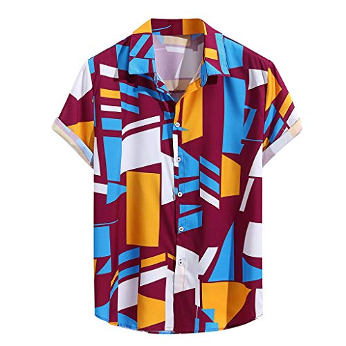 iLXHD Mens T-Shirt Contrast Color Geometric Printed Turn Down Collar Short Sleeve Loose Shirts Purple