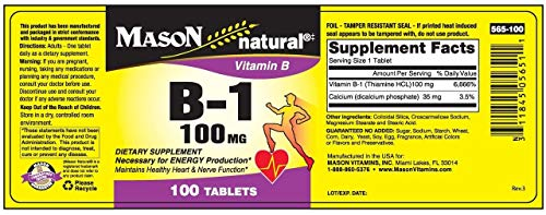 Mason Vitamins B 1 100 mg Tablets, 60 Count