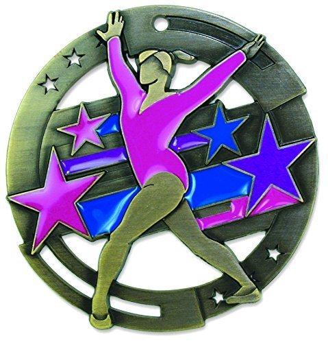 Gold Gymnastics M3XL Die Cast Medal - 2.75 Inches - Includes Red, White & Blue V-neck (Gold Star Gymnastics)