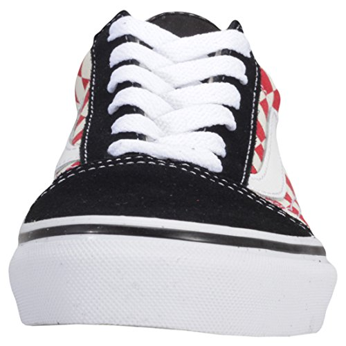 Vans Old Skool Checkerboard Kids Trainers Checkerboard Black Red 8Mfu8SZB