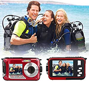 Appareil Photo Etanche HD 2.7K Camescope Numerique 24MP Caméra Rechargeable, Selfie Dual Screens Camescope Numérique