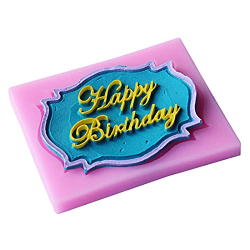 (3D Silicone Cake Chocolate Mold Happy Birthday Cake Topper Decoration Diy Kitchen Baking Party Supplie)