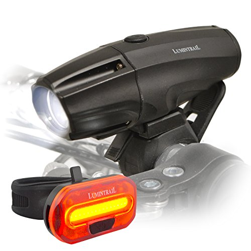 Lumintrail Super Bright USB Rechargeable LED Bike Light Set Headlight Taillight 1000 Lumen Safety Commuter Water Resistant Easy Install & Quick Release ()