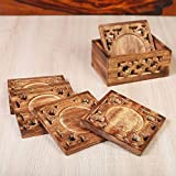 Rusticity Wood Coaster Set of 6 with Holder for