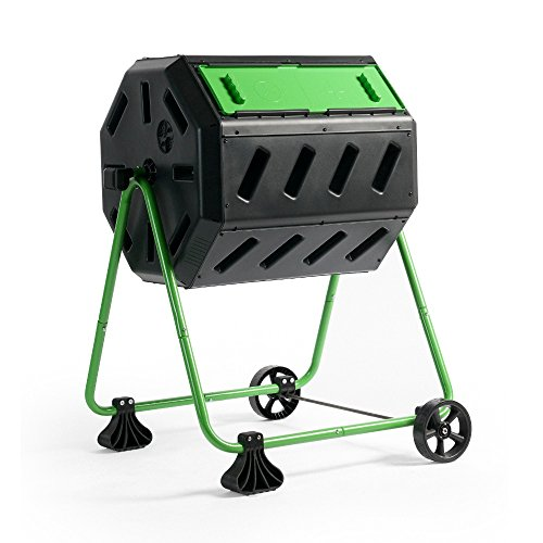 Hot Frog Mobile Dual-Chamber Compost Tumbler by Forest City