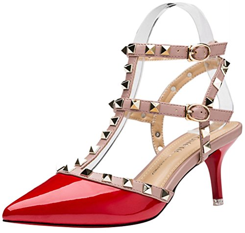 Worply Lady Women Sexy Metal Studs Pointed Toe Low Mid Heels Club Party Office Work Stiletto Shoes(3 UK, Red)
