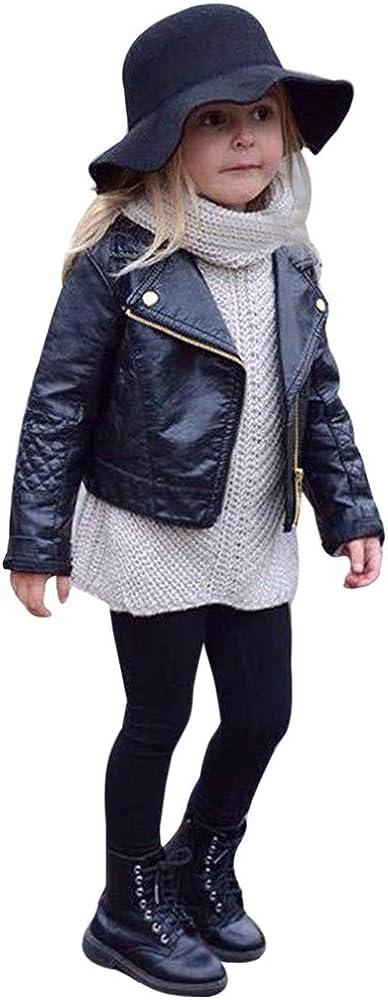 JiaMeng Ropa de Chaqueta Corta de Abrigo de Cuero para niños bebé Outwear de Viento de Imitación de Piel