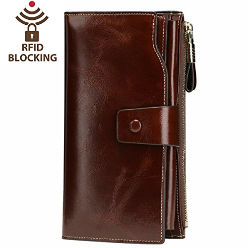 Itslife Women's RFID Blocking Large Capacity Luxury Wax Genuine Leather Cluth Wallet Ladies Card holder (Coffee RFID Blocking) by ITSLIFE