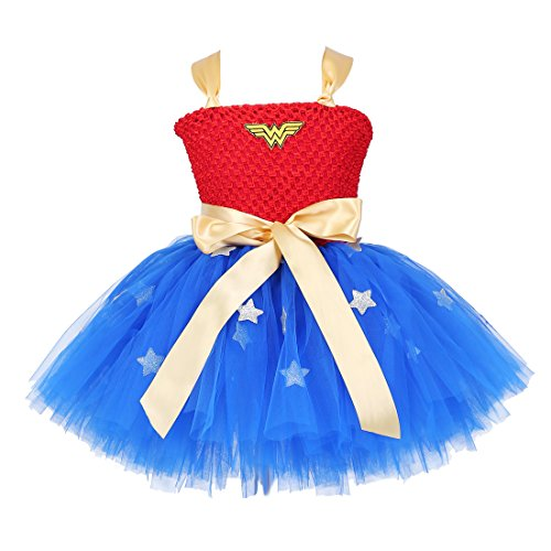 Tutu Dreams Handmade Superhero Tutu Dress For Girls Birthday Party Costume (Large(5-6years), Blue) ()