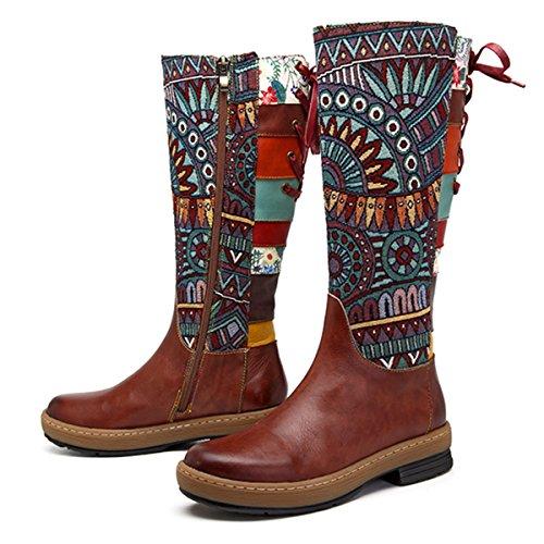Bohemian Pattern - Socofy Leather Knee Boots, Women's Bohemian Splicing Pattern Flat Knee High Boots Coffee 5 B(M) US