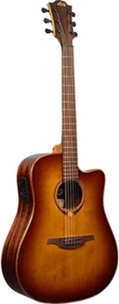 LAG T118DCE BRS Dreadnought - Guitarra electroacústica (parte superior sólida), color rojo