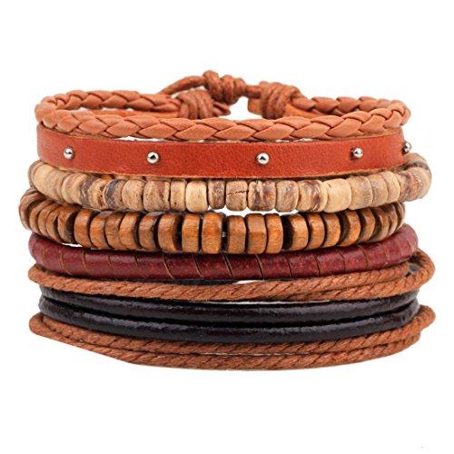 MJartoria Unisex PU Leather Hemp Cords Beaded Multi Strands Adjustable Wrap Bracelets Set of 4 Coffee