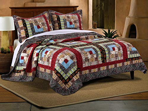 Colorado Oak Little Bed - Greenland Home 3 Piece Colorado Lodge Quilt Set, Full/Queen