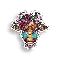 Groovy Cow Sticker Floral Farm Animal Hippie Flower Laptop Cup Car Vehicle Window Bumper Vinyl Decal Graphic