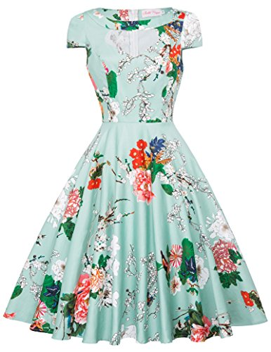 Short Sleeve A Line Swing Dress Belle Poque Retro Dress M BP08-13