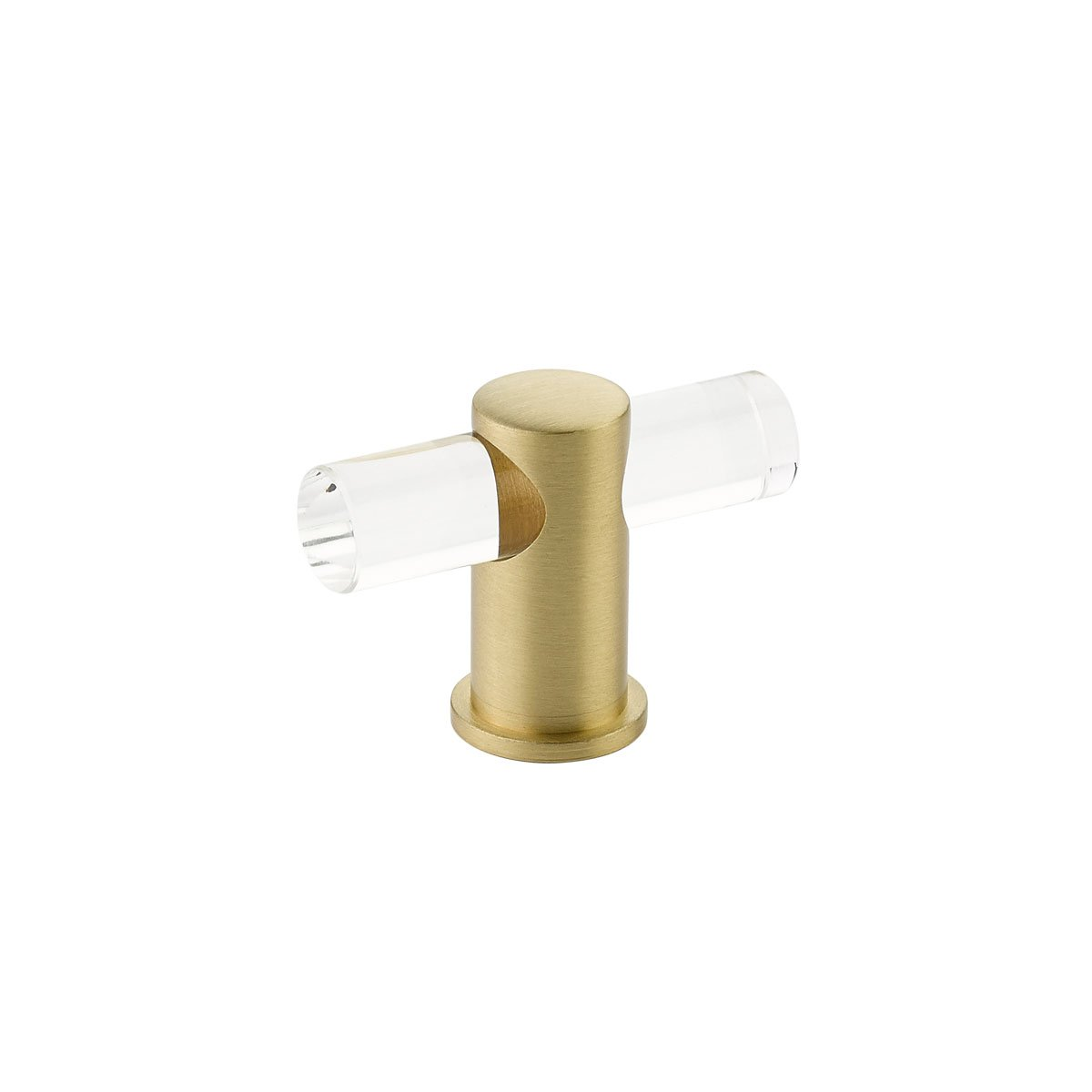 Schaub Lumiere Collection 2 in. (51mm) Adjustable Clear Acrylic T-Knob, Satin Brass - 401-SB