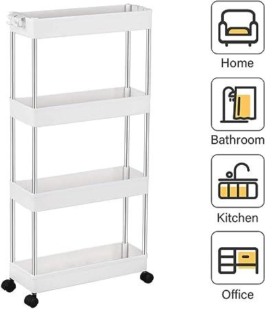 Küchenwagen Servierwagen Küchentrolley Rollwagen für Küche Bad Büro Weiß DEAL